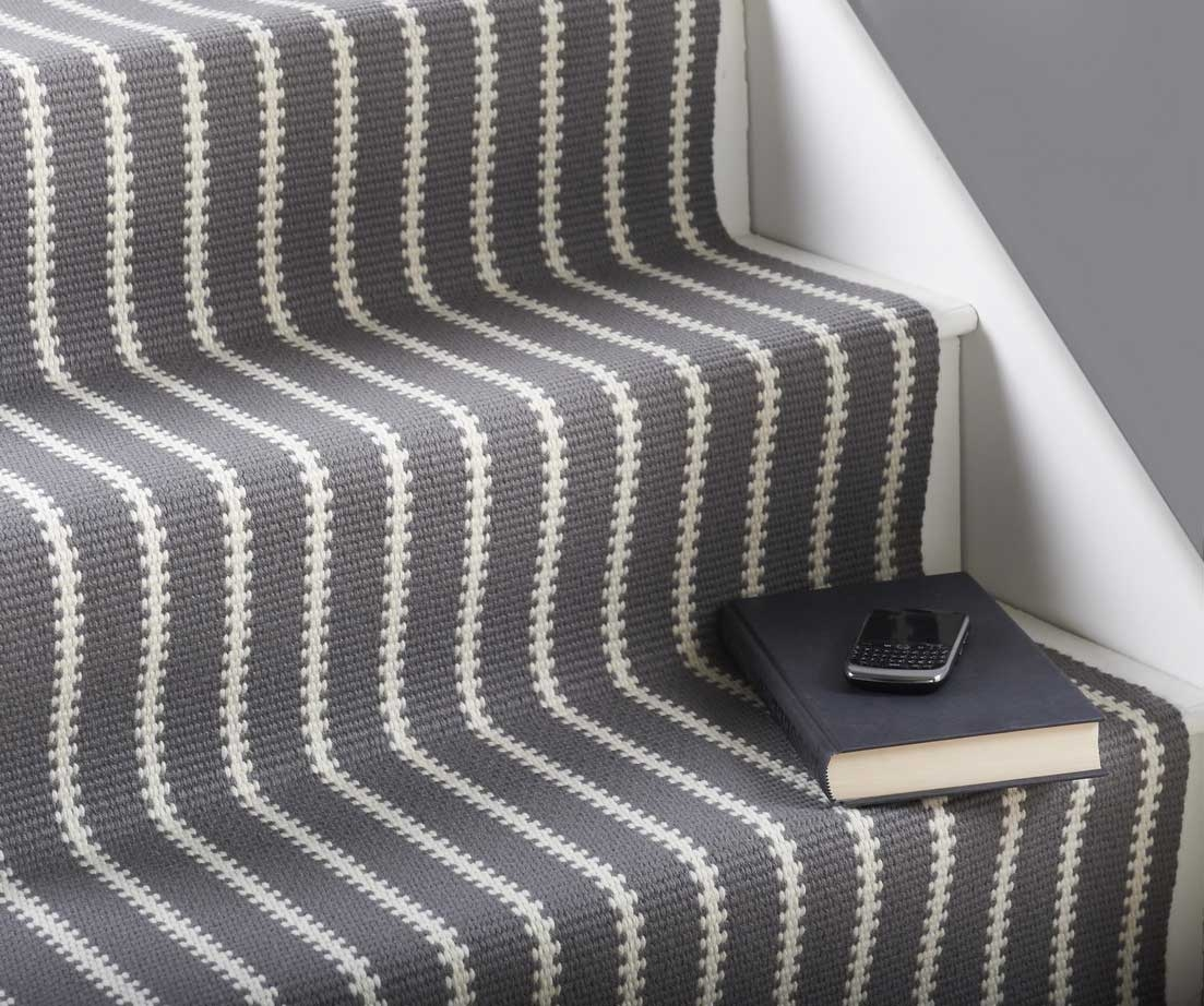 Interior Gray Fabric Stairs Carpet Runner Which Prettify With Within Hallway Runners Black And White (#10 of 20)