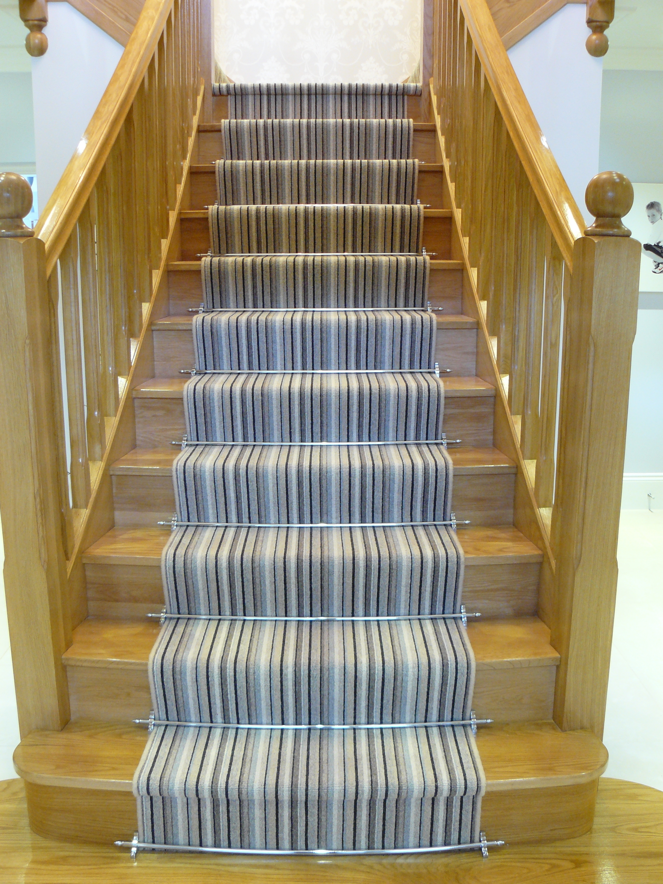 Interior Gray Scale Stair Runner Carpet Which Beautify With Inside Stair Tread Carpet Rods (#11 of 20)