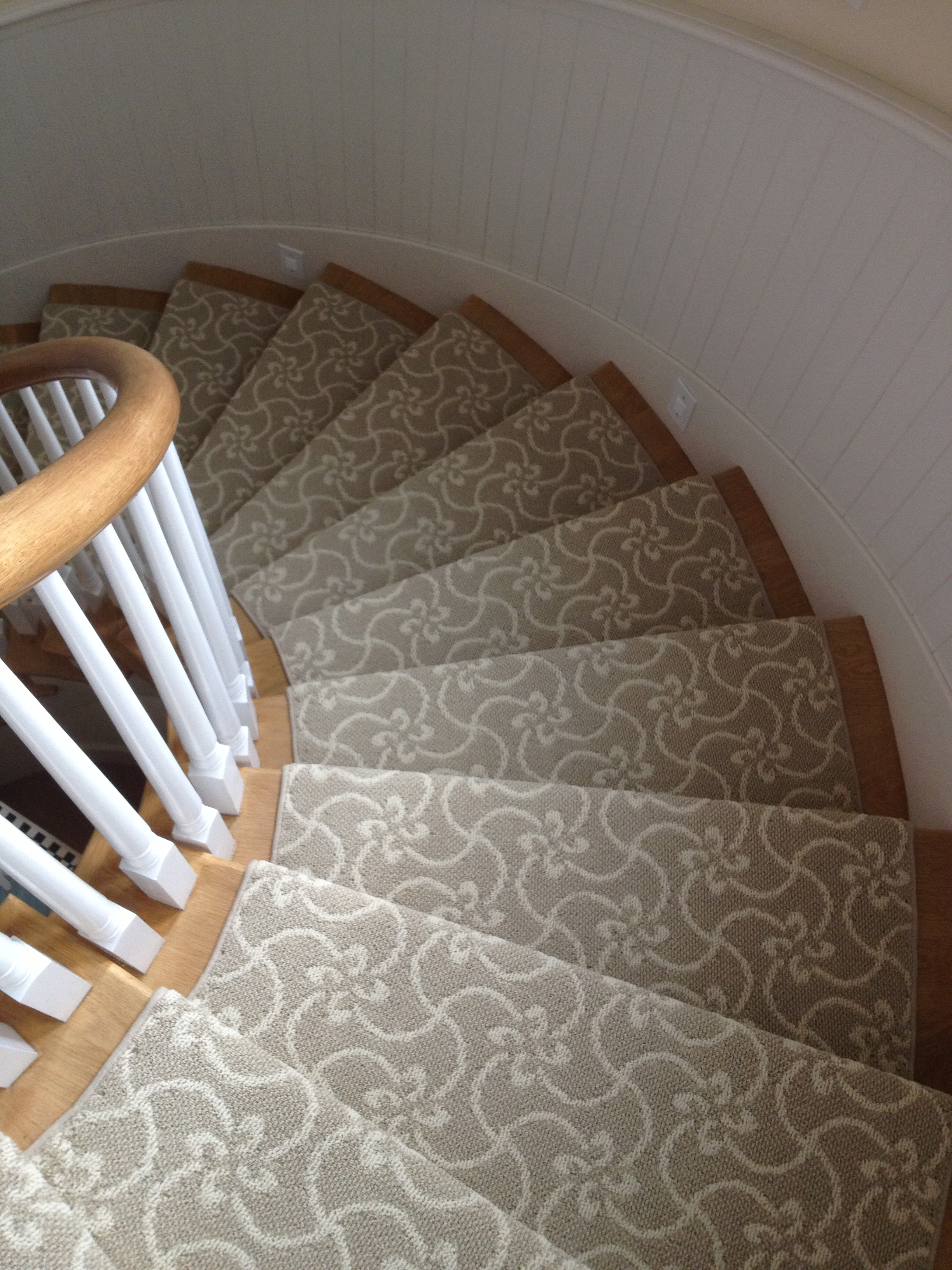 Interior Light Grey Patterned Carpet On Natural Wooden Stairs Pertaining To Rug Runners Grey (View 11 of 20)