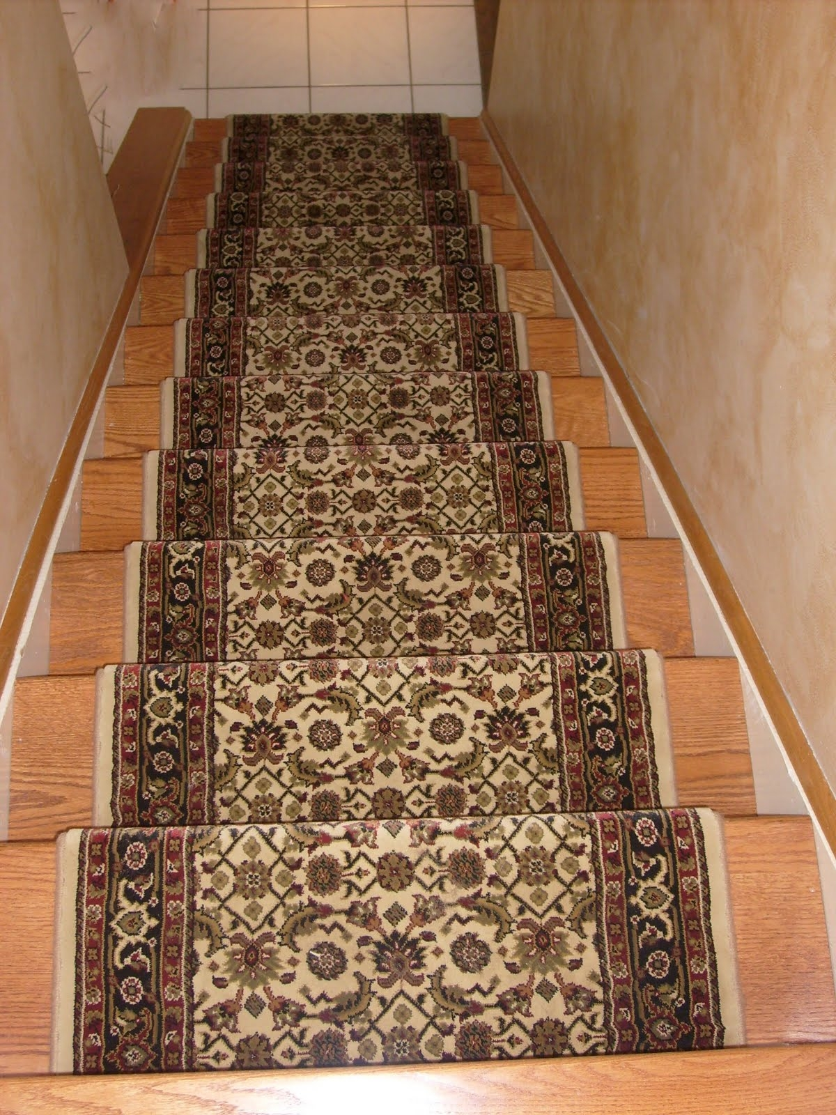 Interior Oriental Patterned Red Carpet Runner Which Mixed With Regarding Oriental Carpet Stair Treads (#10 of 20)