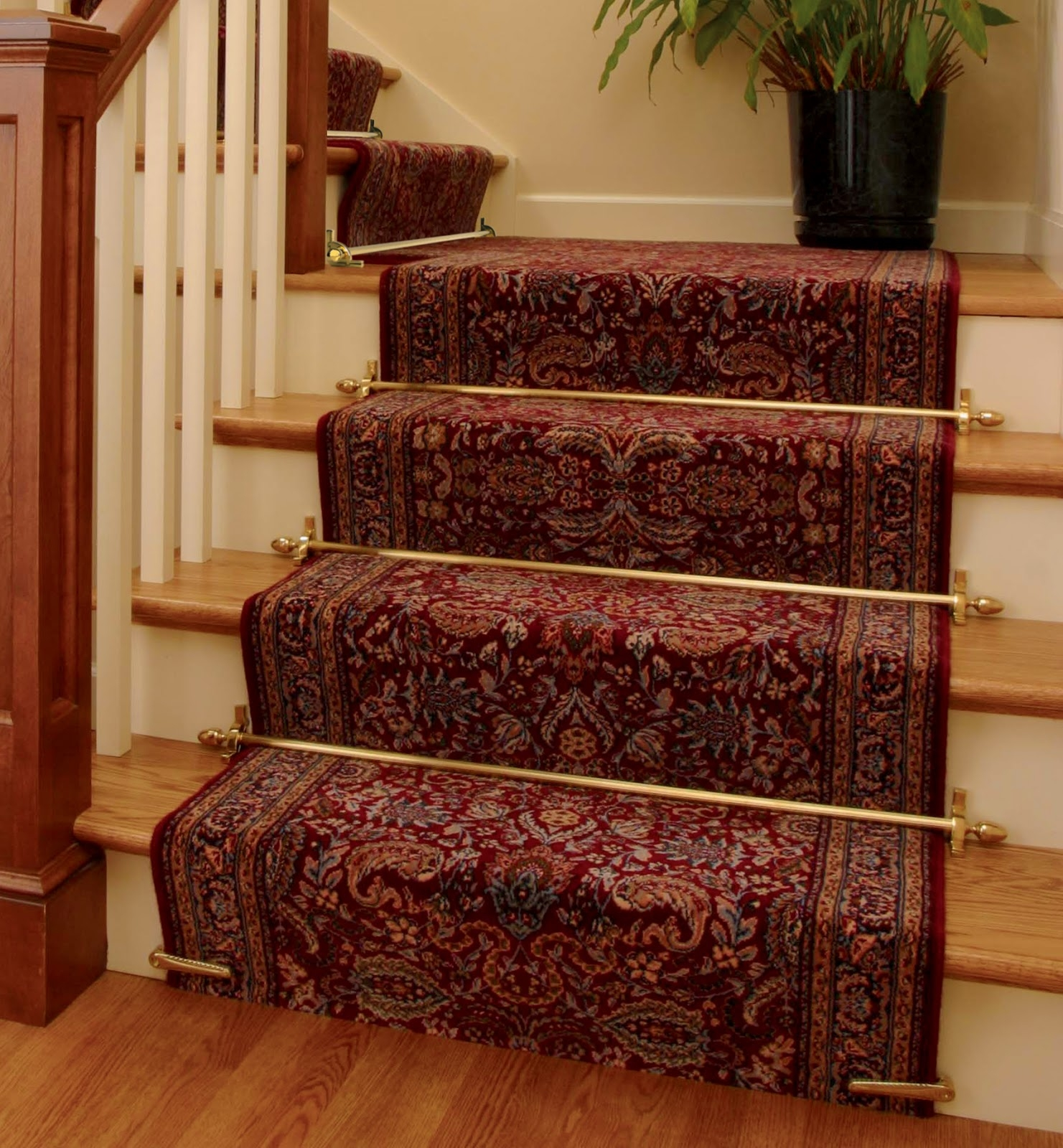 Interior Ornate Carpet Runner With Border And Gold Iron Front Pertaining To Hallway Runners Floral (#11 of 20)