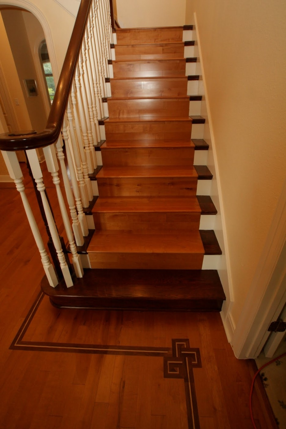 Interior Simple Home Stair Design With Brown Oak Tread Covers And With Regard To Brown Stair Treads (#9 of 20)