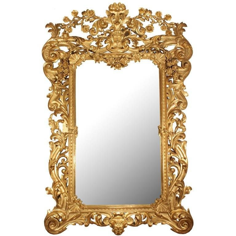 Italian 19Th Century Rococo Style Giltwood Mirror For Sale At 1Stdibs Pertaining To Rococo Style Mirrors (#9 of 30)