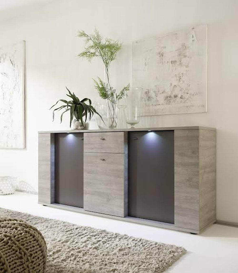 Italian Contemporary Sideboard Buffet With Led Lights Santa Ana For Sideboard Sydney (View 9 of 20)
