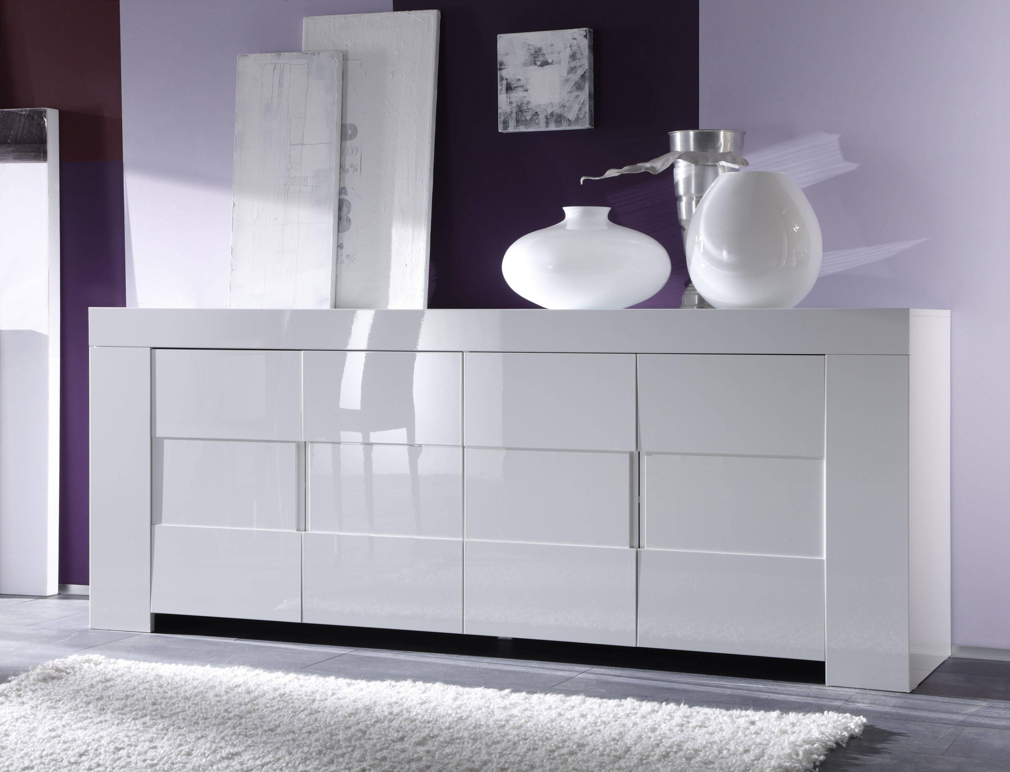 Italian Four Door High Gloss White Or Oak Veneer Buffet Sidaboard Regarding White Modern Sideboard (View 8 of 20)