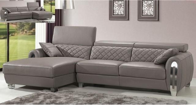 Italian Gray Leather Sectional Sofa Modern Design Modern Throughout Gray Leather Sectional Sofas (#8 of 15)