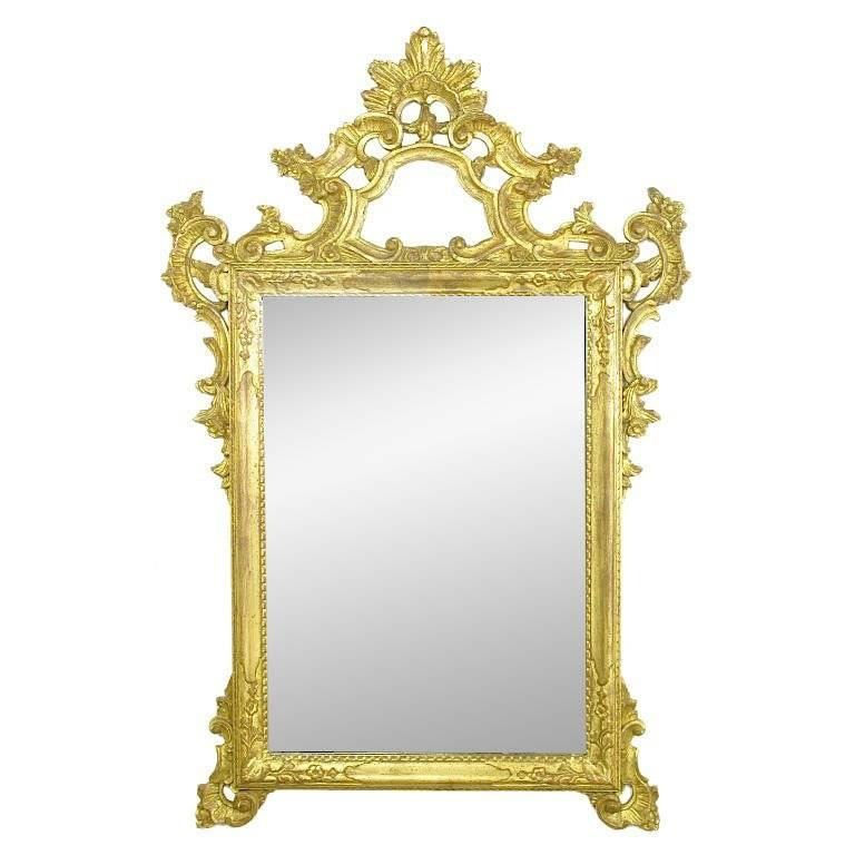 """Italian Rococo Style Carved Wood Hand Painted Mirror – 62"""" X 37 Inside Rococo Style Mirrors (#10 of 30)"""