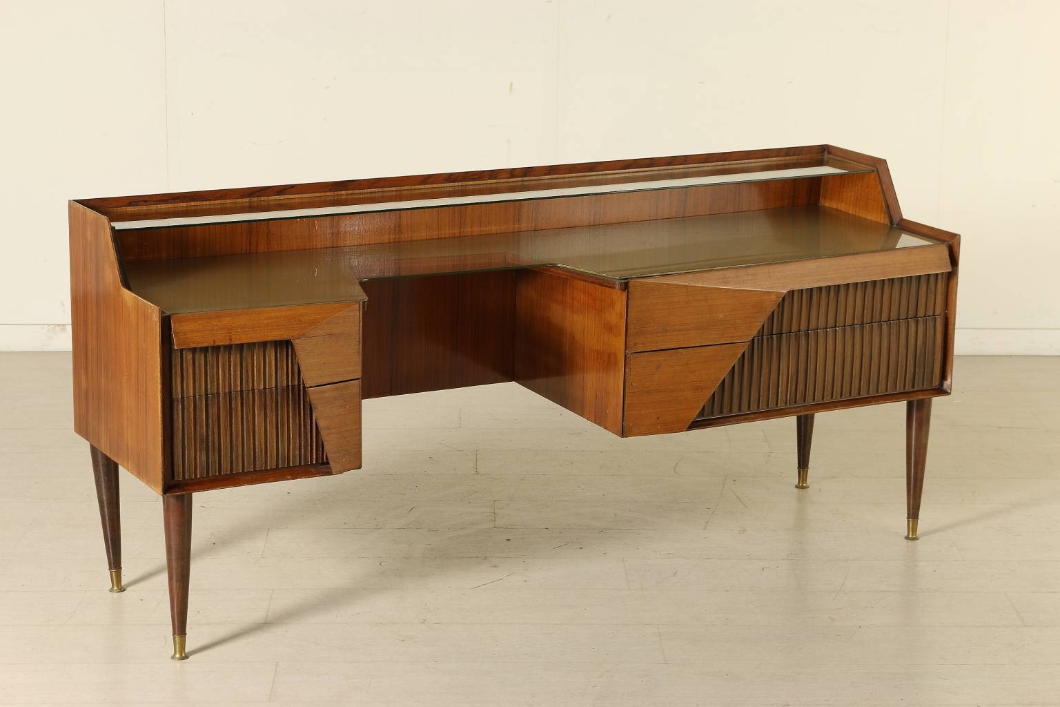 Italian Rosewood Sideboard With Drawers And Glass Top, 1950S For Throughout Glass Top Sideboard (#5 of 20)