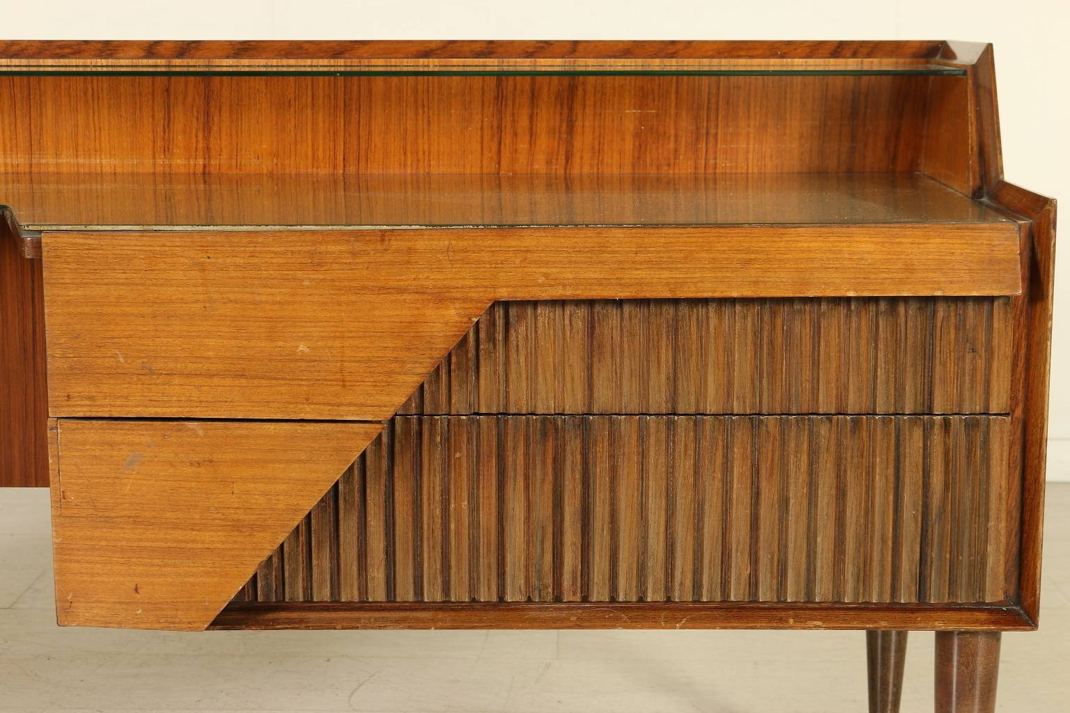 Italian Rosewood Sideboard With Drawers And Glass Top, 1950S For Throughout Glass Top Sideboard (#4 of 20)