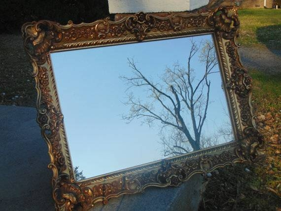 Items Similar To Baroque, Ornate Mirror ,gold Mirror ,vintage Pertaining To Antique Ornate Mirrors (#20 of 20)
