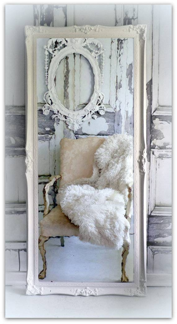 Items Similar To Huge Leaner Vintage Chic Full Length Mirror Regarding Full Length Antique Mirrors (#18 of 30)