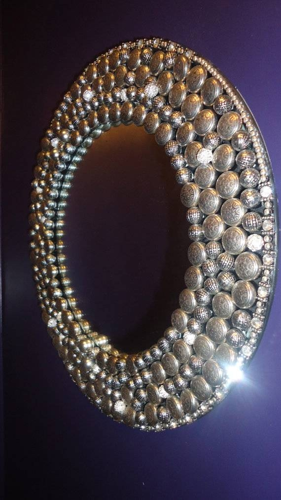 Items Similar To Silver Style Upcycled Embellished Mirror Frame On Inside Embellished Mirrors (View 25 of 30)