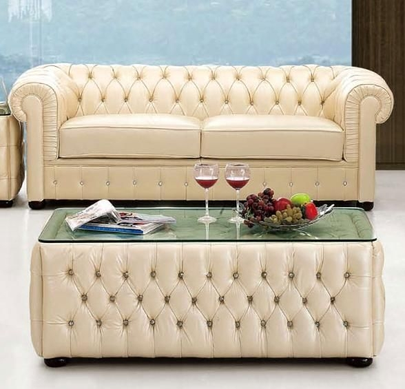 Ivory Italian Leather Sofa With Buttons Prime Classic Design Inside Ivory Leather Sofas (#6 of 15)