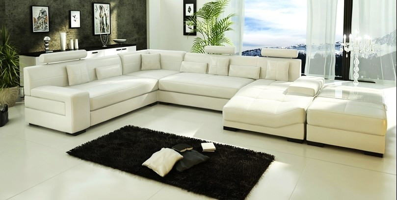 Ivory Sectional Sofa From Opulent Items Ihso02329 Inside Ivory Leather Sofas (#8 of 15)