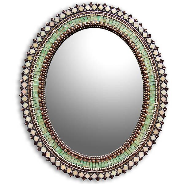 Jade Bronze Oval Mirrorangie Heinrich (Mosaic Mirror) | Artful With Regard To Bronze Mosaic Mirrors (#26 of 30)