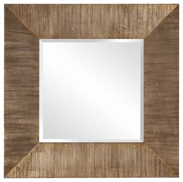 James Square Reclaimed Plank Wood Mirror – Traditional – Wall With Wooden Mirrors (#12 of 30)
