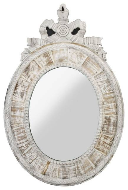 Judy French Country Oval White Wash Mirror – Traditional – Mirrors For Oval White Mirrors (#16 of 30)