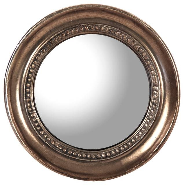 Julian Antique Bronze Distressed Small Round Convex Mirror Inside Round Antique Mirrors (View 6 of 30)