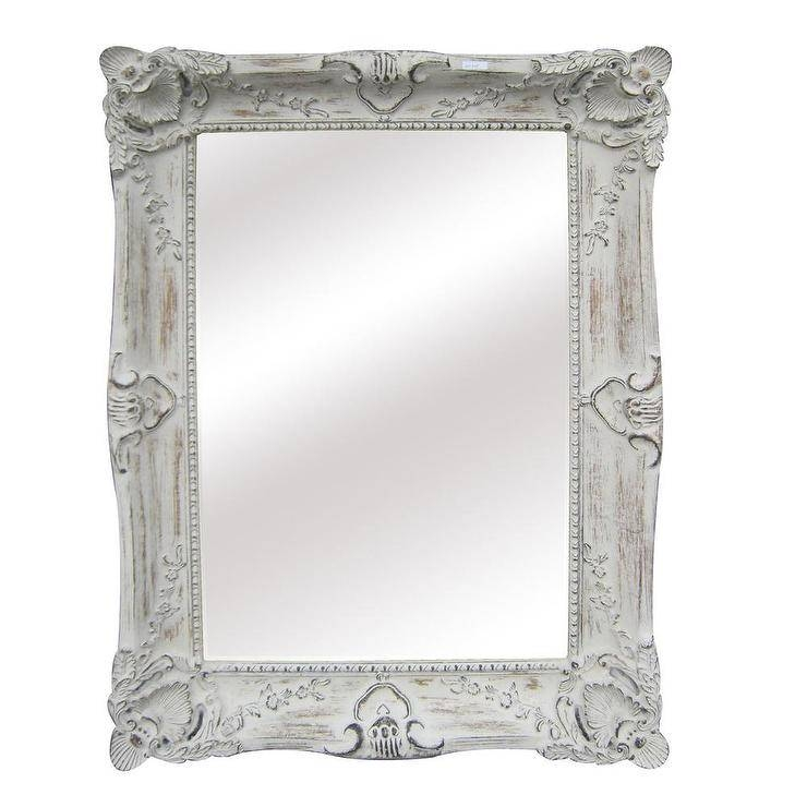 Juliette Leaner White Antique Mirror Intended For White Antique Mirrors (#15 of 20)