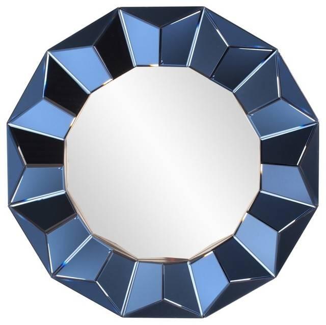 Kaleidoscope Mirror, Cobalt Blue – Contemporary – Wall Mirrors Regarding Blue Round Mirrors (#18 of 30)