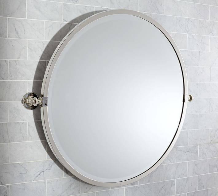 Kensington Pivot Round Mirror | Pottery Barn For Round White Mirrors (#8 of 30)
