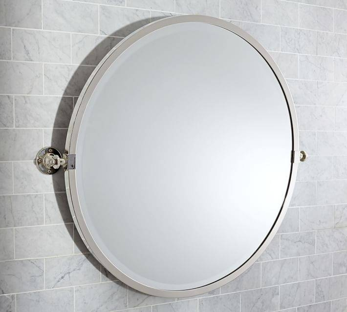 Kensington Pivot Round Mirror | Pottery Barn Intended For White Round Mirrors (#17 of 30)