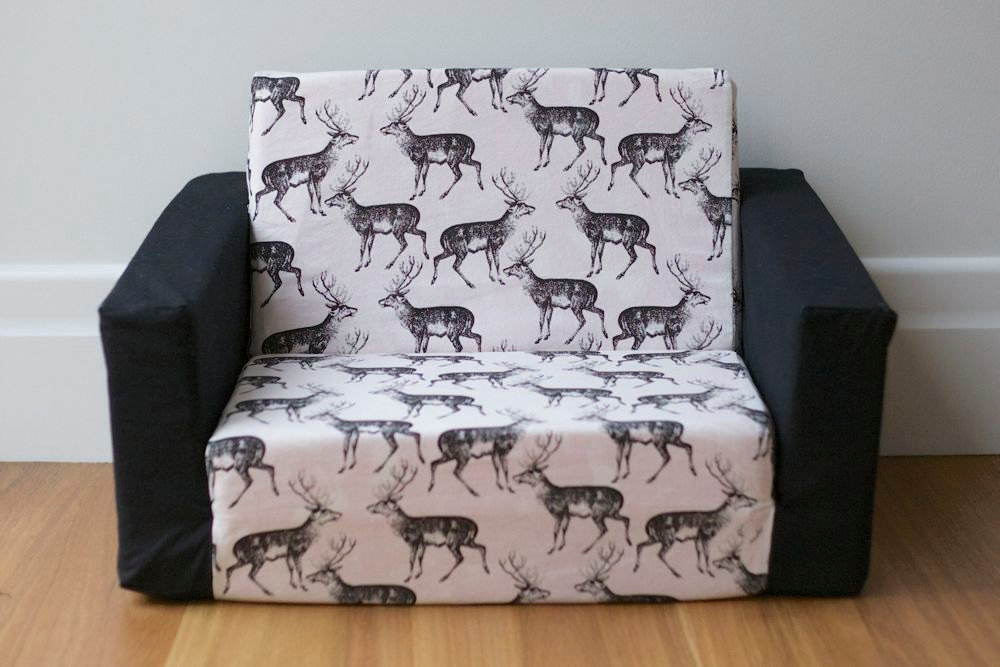 Kids Flip Out Sofa Cover Black On White Deer Print With Black Inside Flip Out Sofa Bed Toddlers (#11 of 15)