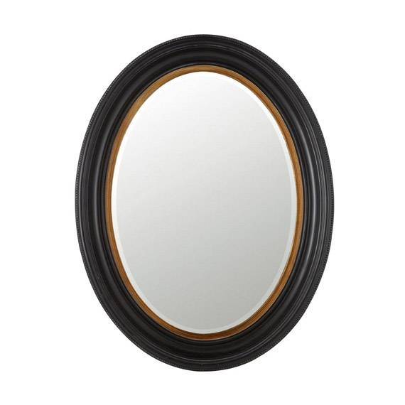 Kildare Oval Mirror, Painted Black Wood – Oka For Oval Black Mirrors (#9 of 20)