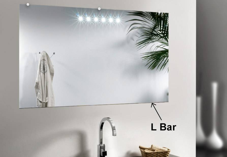 L Bar Mirror Support Mount For Beveled & Decorative Mirror Edges In Unframed Wall Mirrors (#18 of 30)