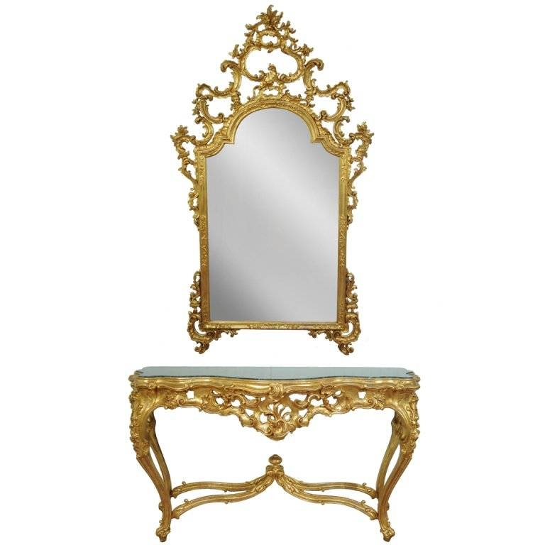 Labarge French Rococo Carved Wood Gold Gilt Marble Console Table Intended For Gold Table Mirrors (View 8 of 20)
