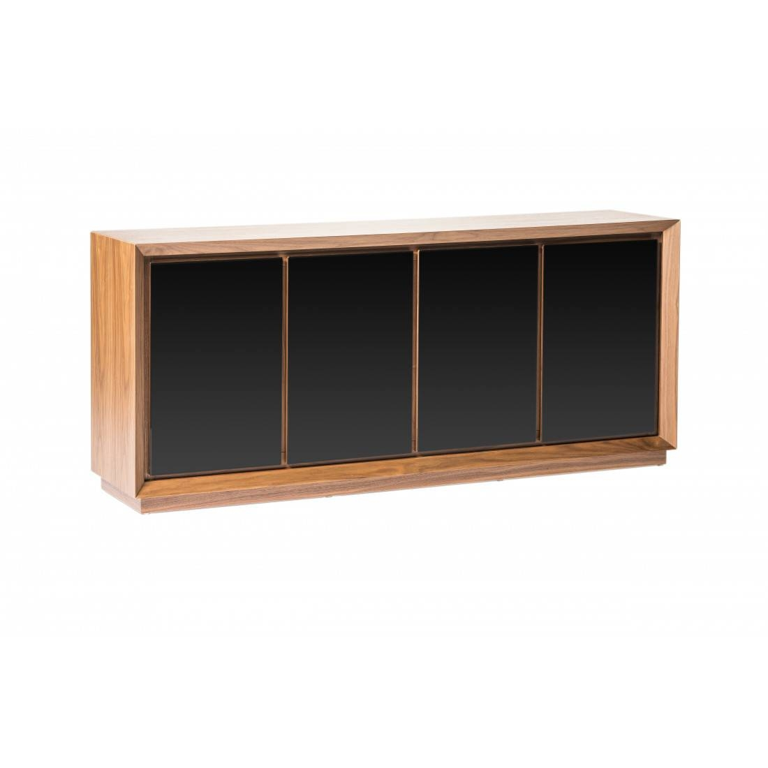Lagarno Sideboard Walnut W/glass Top Moes For Glass Top Sideboard (#7 of 20)