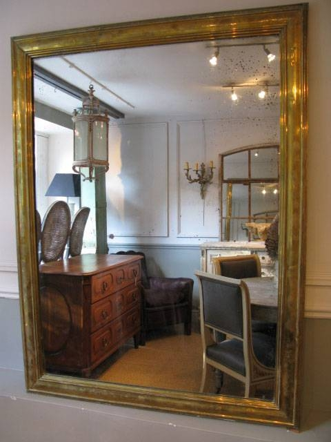 Large 19Th Century French Brass Mirror – Square Mirrors Regarding Large Square Mirrors (#16 of 30)