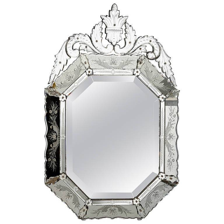 Large 19Th Century Octagonal Venetian Mirror At 1Stdibs Regarding Black Venetian Mirrors (#18 of 30)