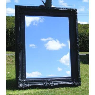 Large 5Ft Ornate Black Rococo Mirror – Ayers & Graces Online With Regard To Black Rococo Mirrors (#22 of 30)