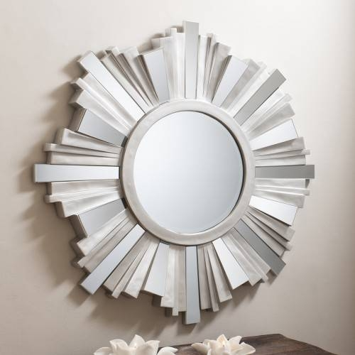 Large Adahra Large Round Silver Mirror 106 Cm Adahra Large Round For Round Silver Mirrors (#13 of 30)