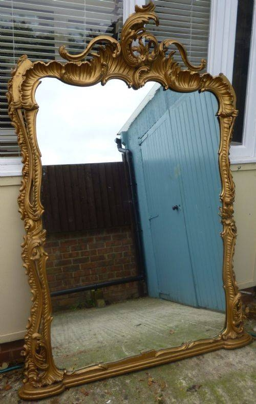 Large And Ornate Victorian Rococco Style Carved Wood Gilt Over Throughout Large Overmantle Mirrors (View 8 of 30)