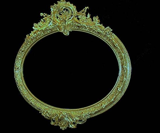 Large Antique French Gilt Landscape Oval Wall Mirror Intended For French Oval Mirrors (#22 of 30)
