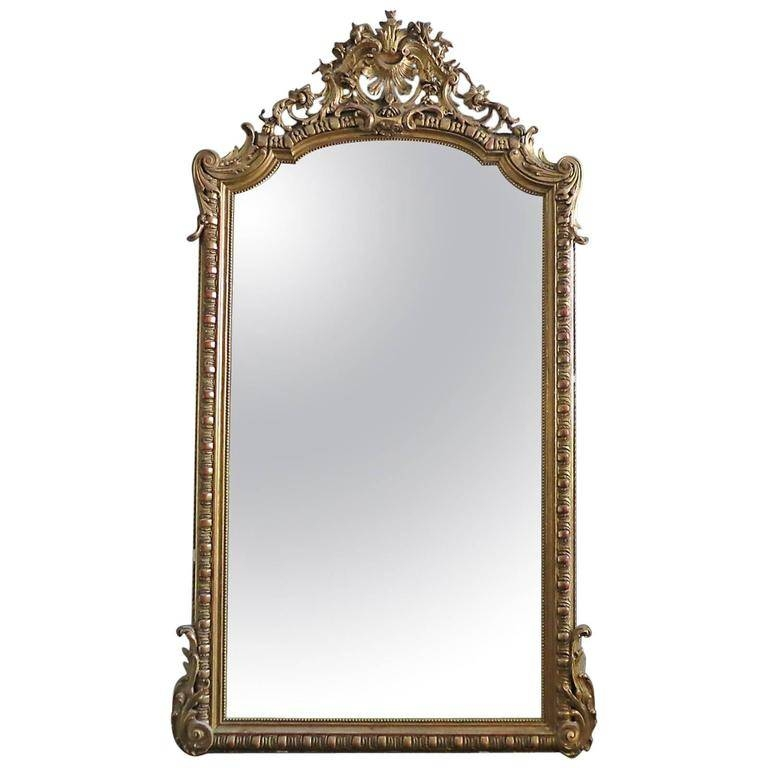 Large Antique French Gold Gilt Mirror At 1Stdibs With Regard To French Gilt Mirrors (#25 of 30)