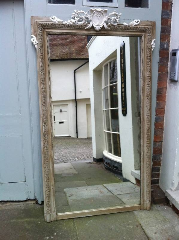 Large Antique French Painted Decorative Wall Mirror (#27 of 30)