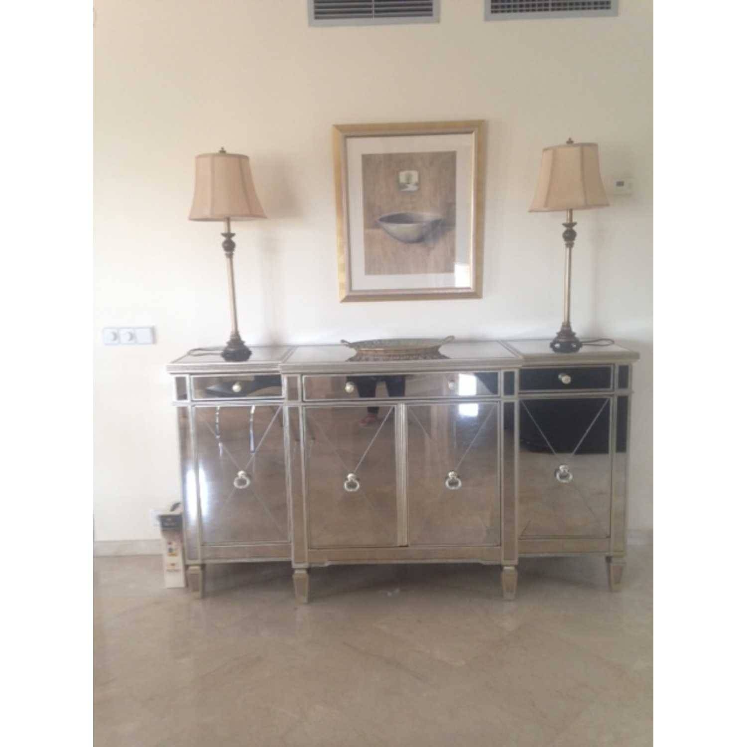 Large Antique Seville Venetian Mirrored Glass Sideboard 4 Door Pertaining To Small Mirrored Sideboard (#8 of 20)