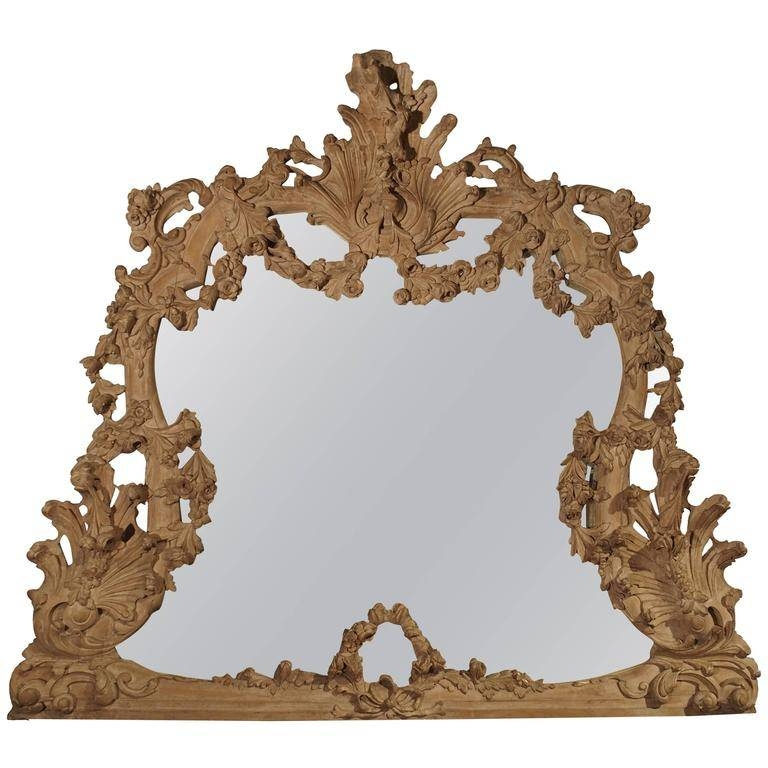 Large Antique Stripped Walnut Wood Rococo Style Mirror For Sale At Pertaining To Rococo Style Mirrors (#11 of 30)