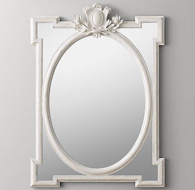 Large Antique White Dresser Mirror For French Oval Mirrors (#23 of 30)