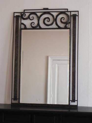 Large Art Deco Mirror With Steel Frame, 1930S For Sale At Pamono Inside Art Deco Mirrors (#15 of 20)