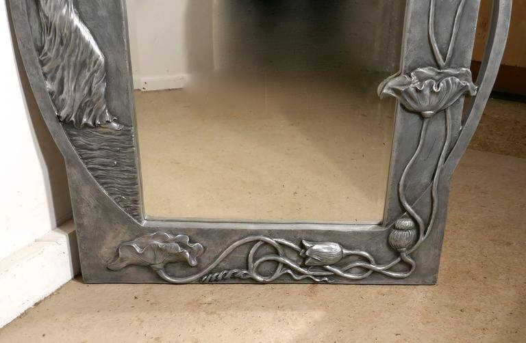 Large Art Nouveau Pewter Wall Mirror, Made In Francerosa Art Regarding Art Nouveau Wall Mirrors (#17 of 20)