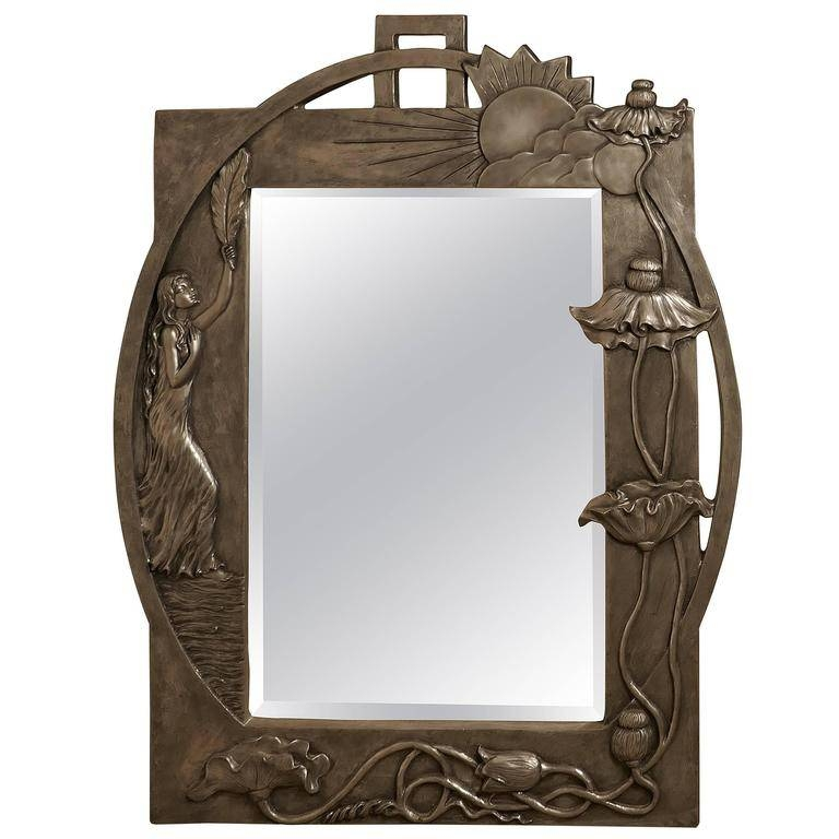 Large Art Nouveau Pewter Wall Mirror, Made In Francerosa Art With Art Nouveau Wall Mirrors (#18 of 20)