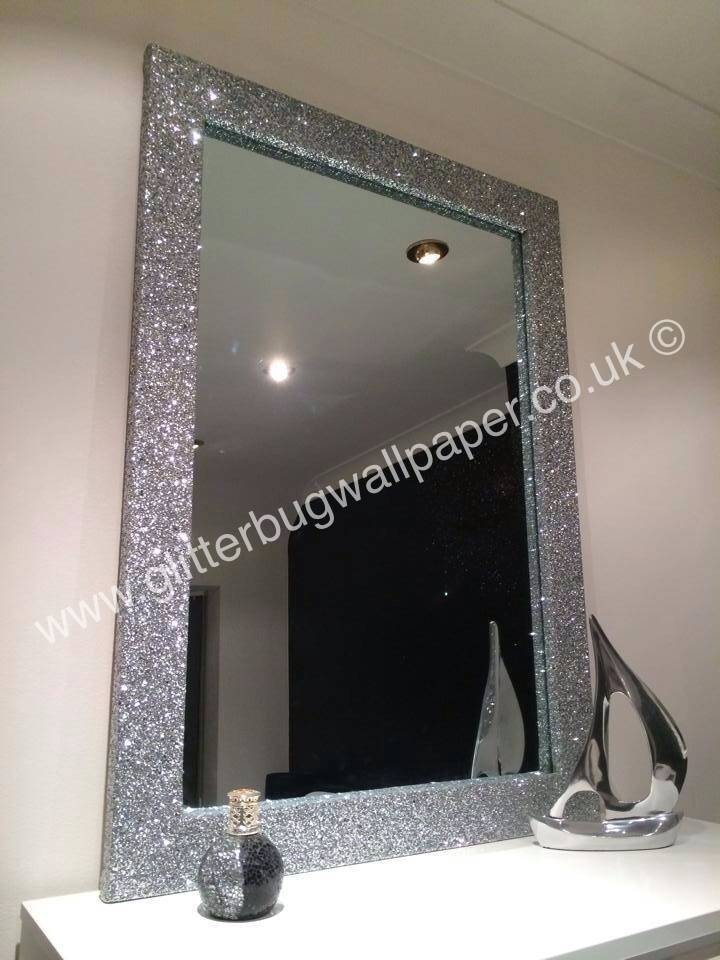 Large Bespoke Glitter Mirror – Glitter Bug Wallpaper Pertaining To Glitzy Mirrors (#14 of 20)
