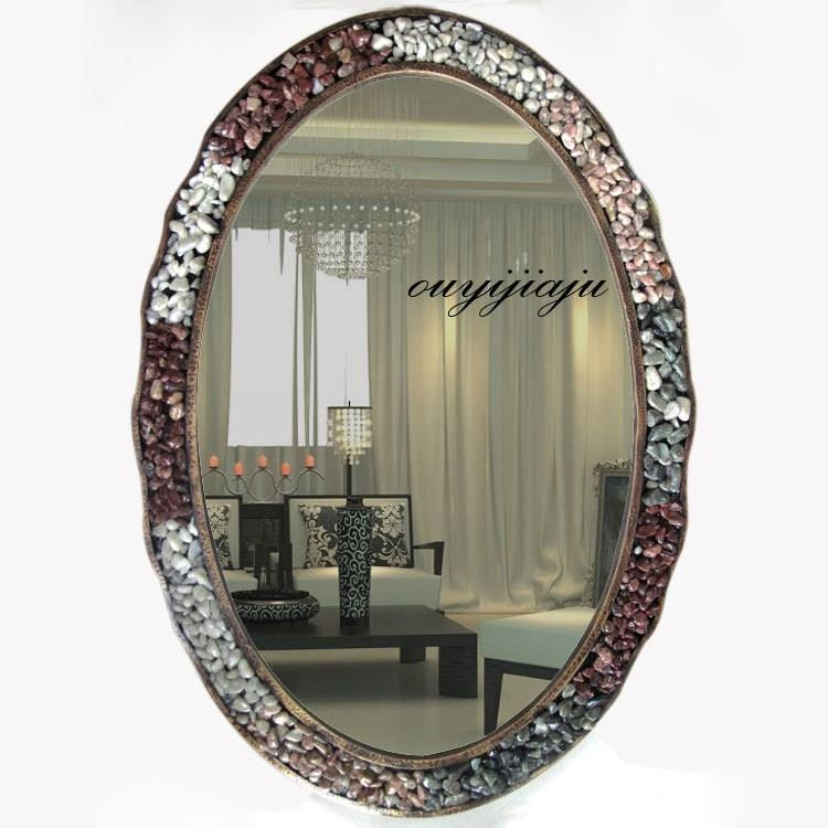 Large Big Decorative Cosmetic Antique Oval Wall Mirror With Frame Pertaining To Large Oval Wall Mirrors (#14 of 30)