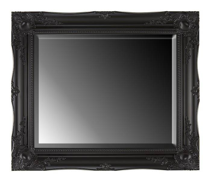 Large Black Ornate Rectangular Mirror Wall Overmantle 106X76 Cm Regarding Black Ornate Mirrors (View 23 of 30)