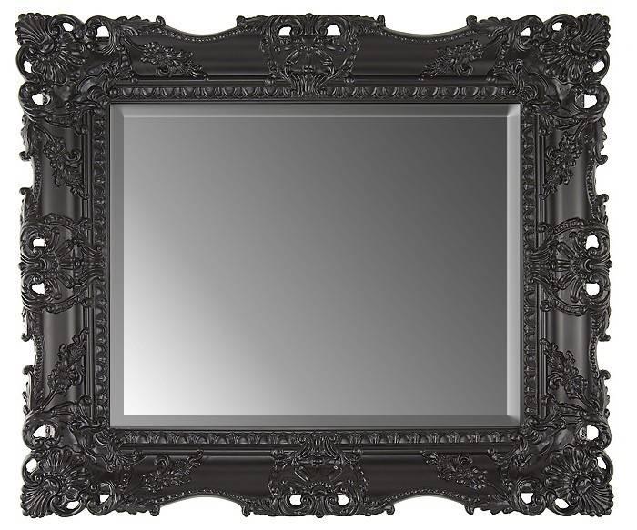 Large Black Ornate Rectangular Mirror Wall Overmantle 79X69 Cm With Large Black Ornate Mirrors (View 26 of 30)