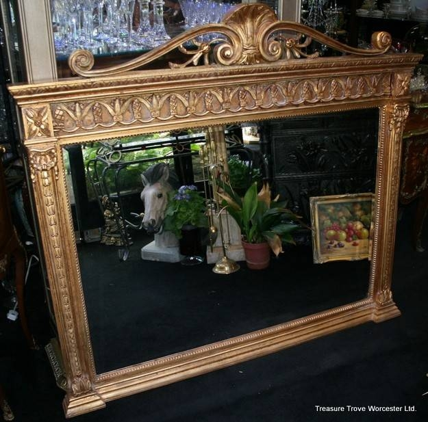 Large Carved Wood Gilt Overmantle Mirror Within Large Overmantle Mirrors (View 18 of 30)